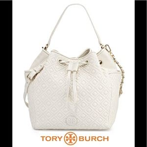 NWT TORY BURCH MARION LEATHER BUCKET BAG NEW IVORY